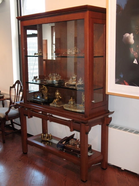 "Display Cabinet Black American Cherry and Wenge 78""tall x 52""wide x 20""deep"